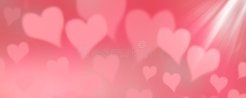 情人节横幅,桃红色心脏背景 免版税库存图片