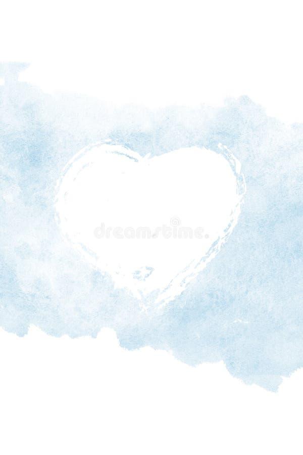 情人节水彩有心脏的卡片盖子 向量例证