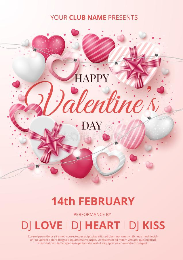 Valentine`s day party poster template with 3D hearts, shining lights and gift box 向量例证