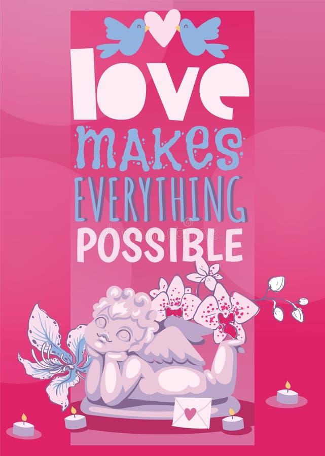 情人节海报天使雕象例证 天使丘比特私通言情雕塑 库存例证