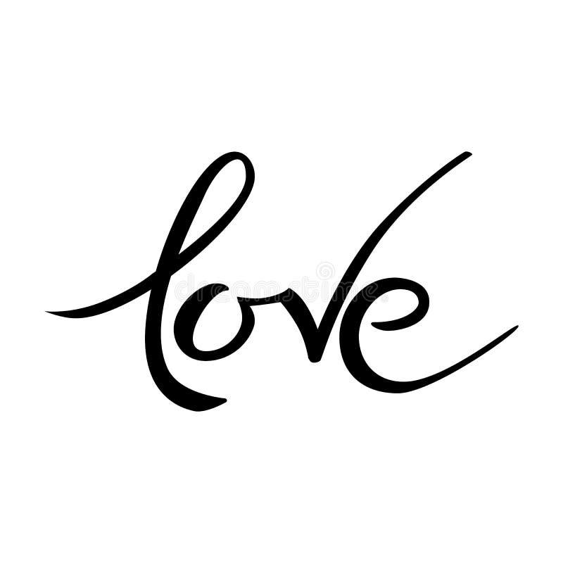 情人节爱在上写字 手拉的词 印刷术邀请 皇族释放例证