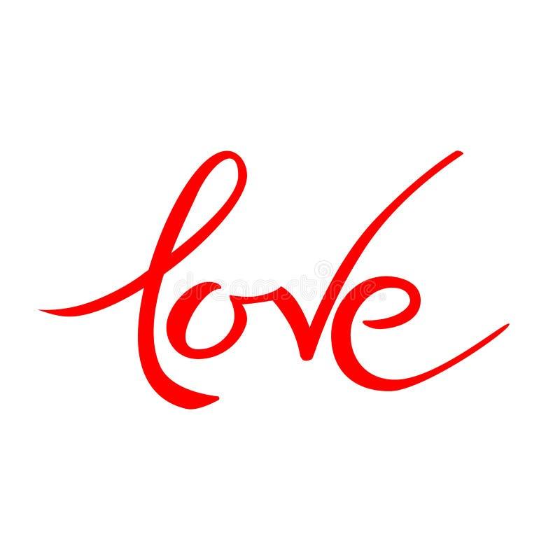 情人节爱在上写字 手拉的词 印刷术邀请 向量例证