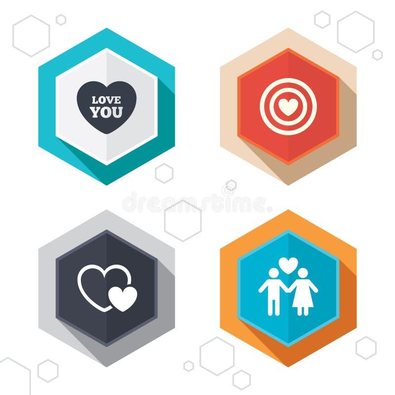 情人节爱象 与心脏的目标目标 库存例证