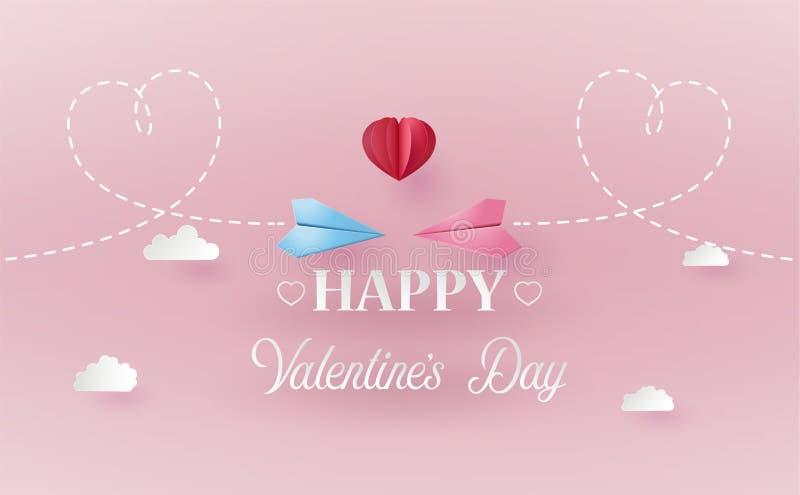 情人节的概念与纸飞机的 库存例证