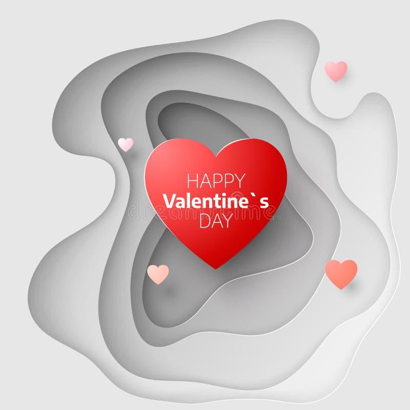 情人节的纸艺术概念 2月14日贺卡盖子 与心脏的爱浪漫消息 库存例证
