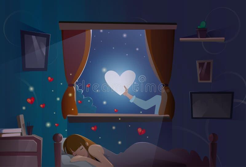 情人节礼品券假日女孩睡觉月亮心脏形状爱标志 向量例证