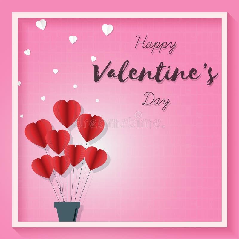 情人节粉红色背景、爱心纸艺术图案、矢量图 库存例证