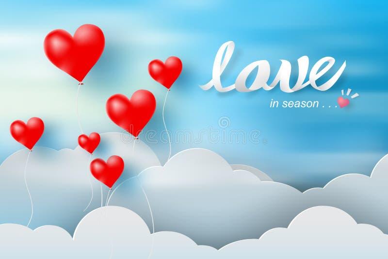 情人节纸艺术和工艺与气球红色心脏的和 库存例证