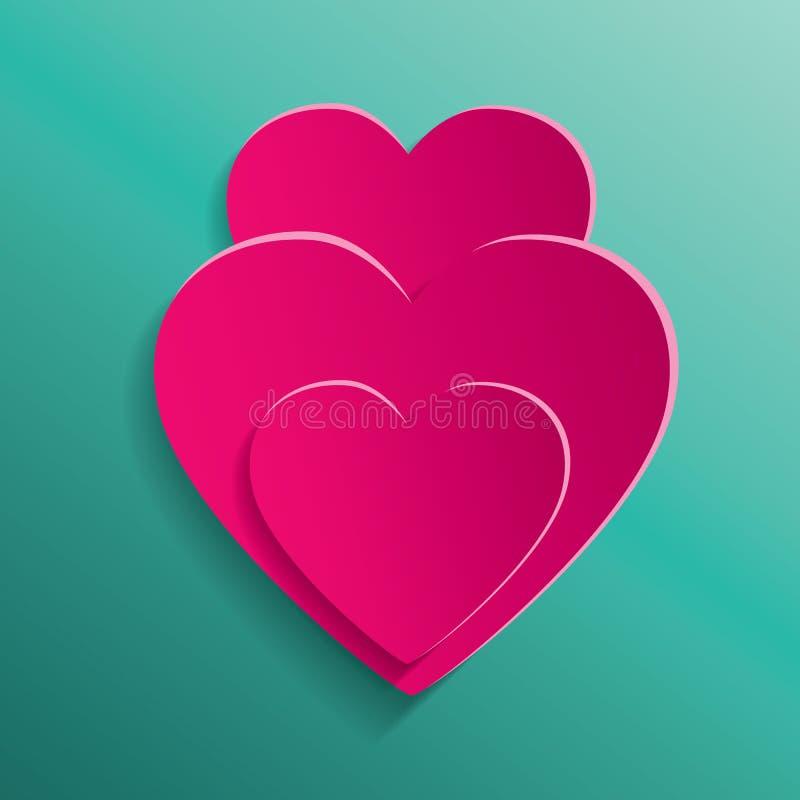 情人节背景的心脏 库存例证