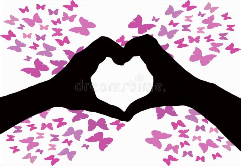 情人节背景,一起做心形的两只手剪影在与蝴蝶的白色背景 免版税图库摄影