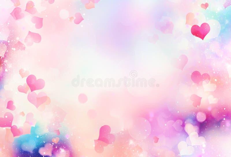 情人节被弄脏的背景 心脏样式例证 库存例证