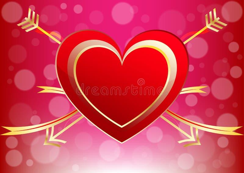情人节装饰爱背景的抽象心脏 库存例证