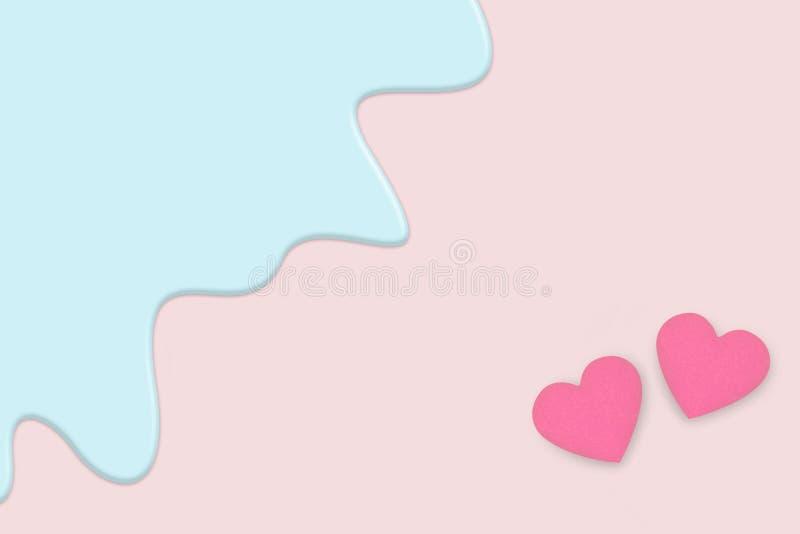 情人节贺卡创造性的柔和的淡色彩  两在淡色浅粉红色的背景的桃红色心脏孤立与蓝色液体融解 皇族释放例证