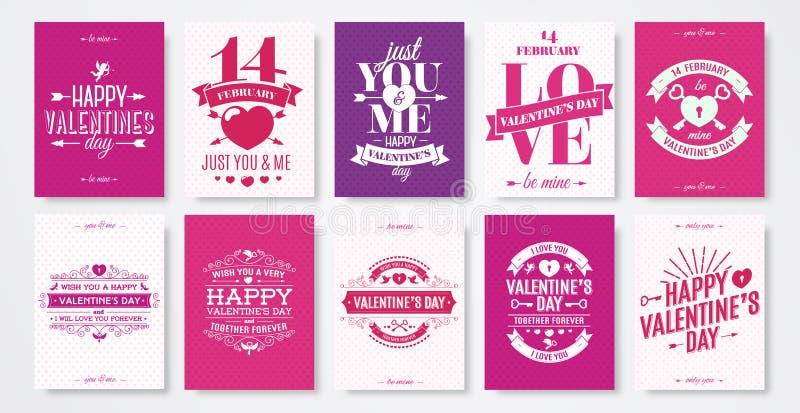情人节贺卡设置了与印刷术海报的,标签祝贺标志 向量例证