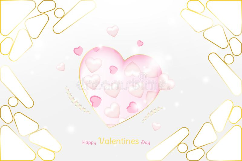 情人节贺卡豪华模板 与桃红色心脏和金元素的庆祝概念在背景与 皇族释放例证