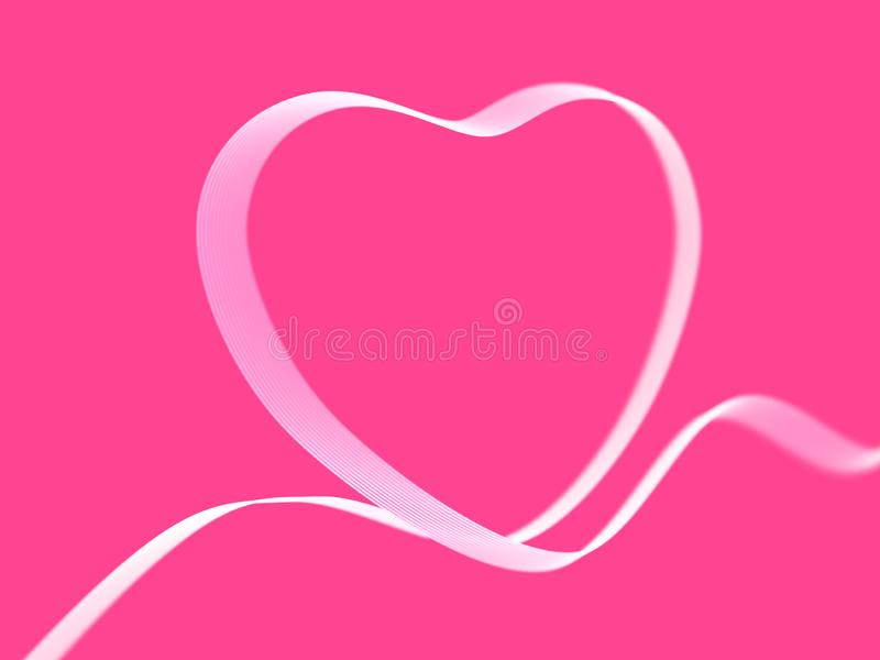 情人节贺卡:在桃红色背景的白色心脏丝带 向量例证
