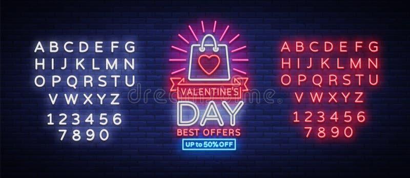 情人节销售传染媒介设计在霓虹样式的模板海报 霓虹灯广告,与折扣的霓虹横幅,明亮的夜 向量例证