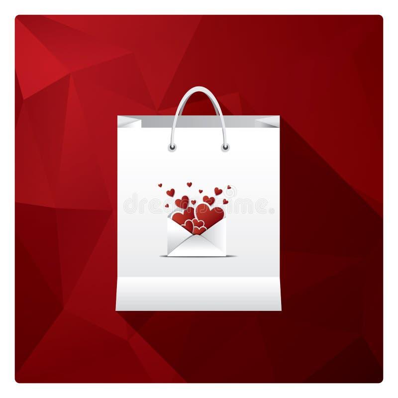情人节销售或购物海报与商店袋子和爱的不同的标志 库存例证