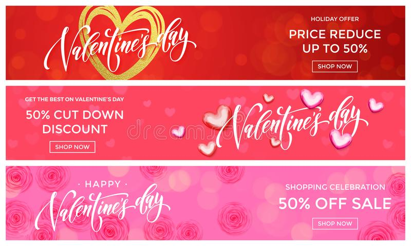情人节销售横幅设计模板 导航在桃红色花背景的金黄闪烁心脏华伦泰时尚销售sho的 皇族释放例证