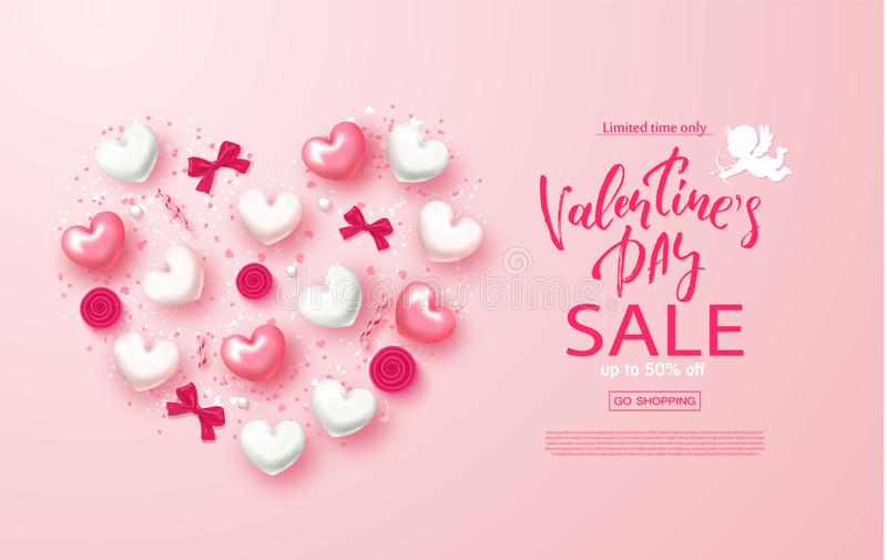 情人节销售横幅 与心脏、弓、玫瑰和蛇纹石的美好的背景 网站的, poste传染媒介例证 皇族释放例证