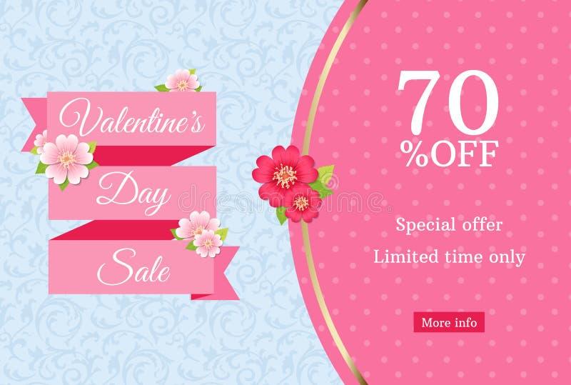 情人节销售网横幅设计模板 在蓝色花卉背景的桃红色平的丝带 与70%的圆点样式 库存例证