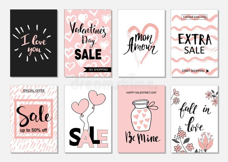 情人节销售集合卡片 书法、字法和手拉的设计元素 库存例证