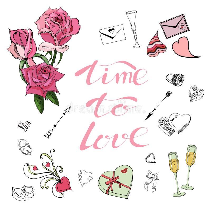 情人节题材乱画元素、玫瑰、字法和不同的对象的构成 手拉和色的剪影 库存例证