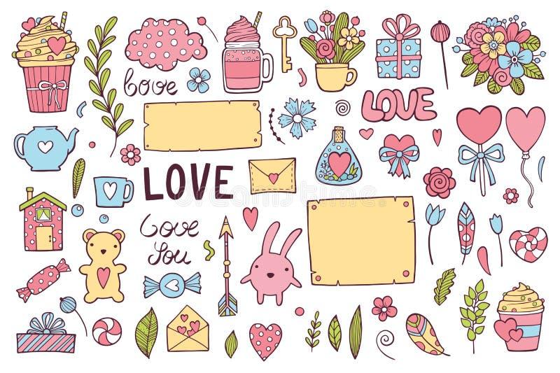 情人节题材乱画集合 传统浪漫标志心形,丘比特,箭头,礼物盒,点心,鸠 免版税库存照片