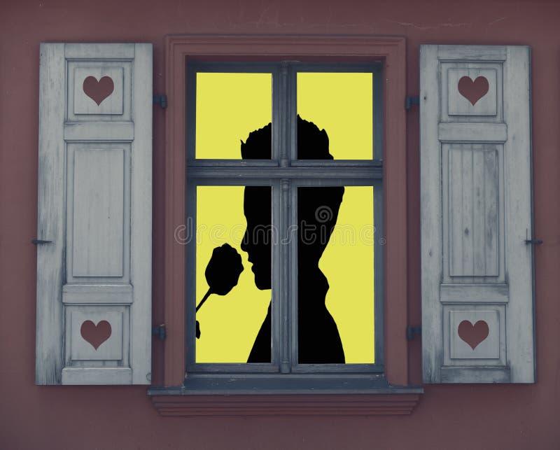 情人节,嗅到在一个被点燃的窗口后的一个浪漫人的剪影一个玫瑰色身分 库存例证