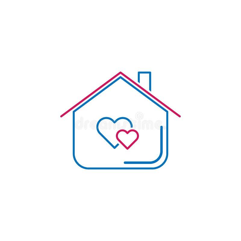 情人节,家,心脏象 能为网,商标,流动应用程序,UI,UX使用 向量例证