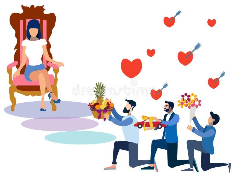 情人节,对妇女的提供的礼物 在最低纲领派样式 平的等量传染媒介 库存例证