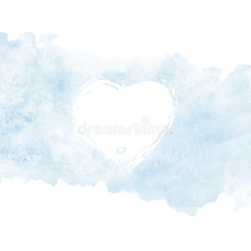 情人节,水彩明信片盖子 库存例证