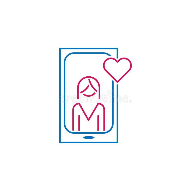 情人节,电话,妇女,爱,心脏象 能为网,商标,流动应用程序,UI,UX使用 皇族释放例证
