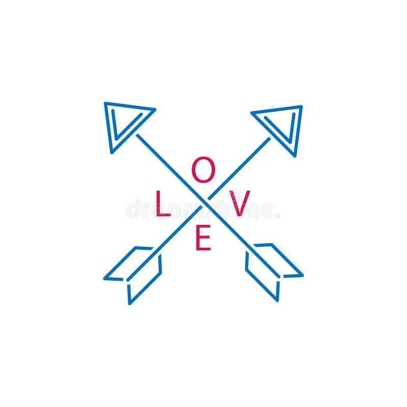 情人节,箭头,爱象 能为网,商标,流动应用程序,UI,UX使用 皇族释放例证