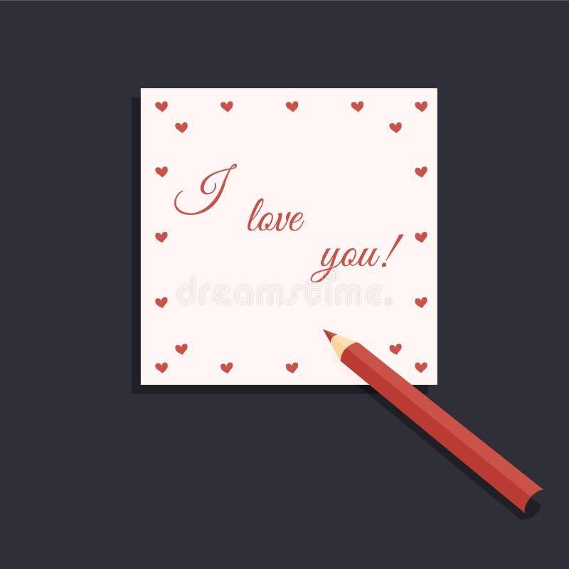 情人节:一盒的逗人喜爱的桃红色板料与红心的写信纸和手写的题字我爱你和一红色pe 皇族释放例证