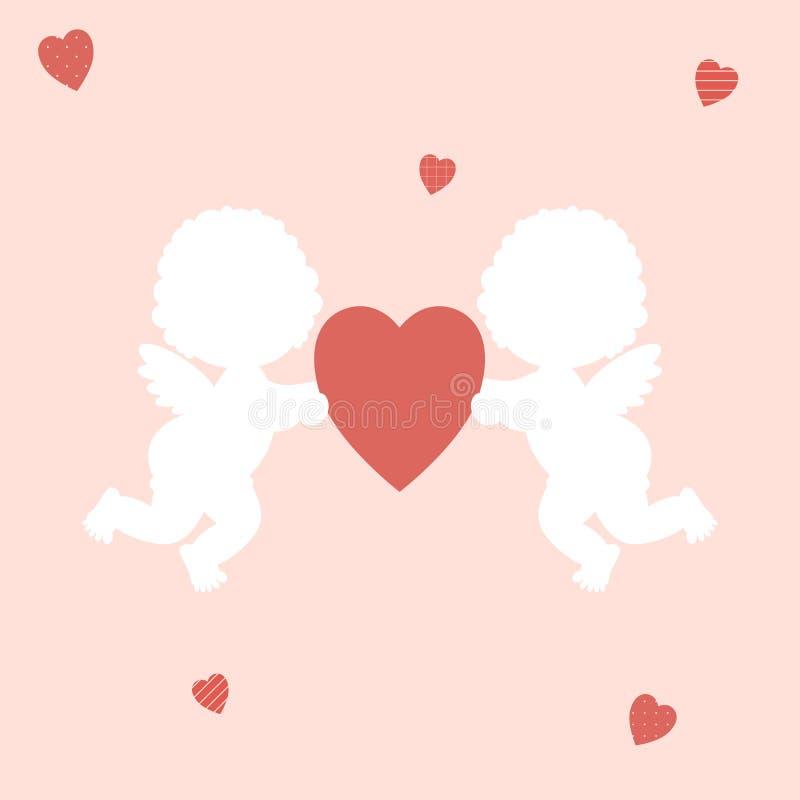 情人节:男孩和女孩丘比特逗人喜爱的矮小的白色剪影拿着在桃红色背景的一红心 皇族释放例证