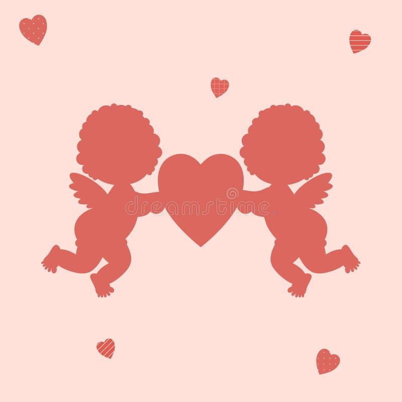 情人节:男孩和女孩丘比特逗人喜爱的矮小的红色剪影拿着在桃红色背景的一红心 库存例证