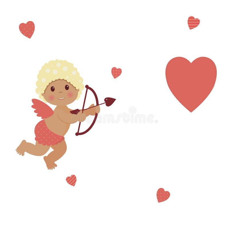 情人节:逗人喜爱的小男孩丘比特拿着一把箭头弓并且瞄准在白色背景的红心 向量例证