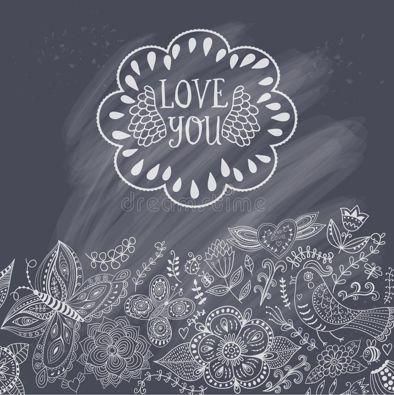 情人节贺卡,在幼稚样式的逗人喜爱的手拉的元素,您的设计的浪漫元素 花卉边界, invit 向量例证
