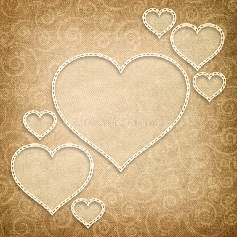 情人节-在被仿造的背景的心脏 向量例证