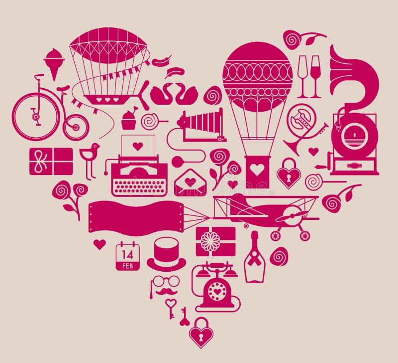 情人节主题的设计元素 库存例证