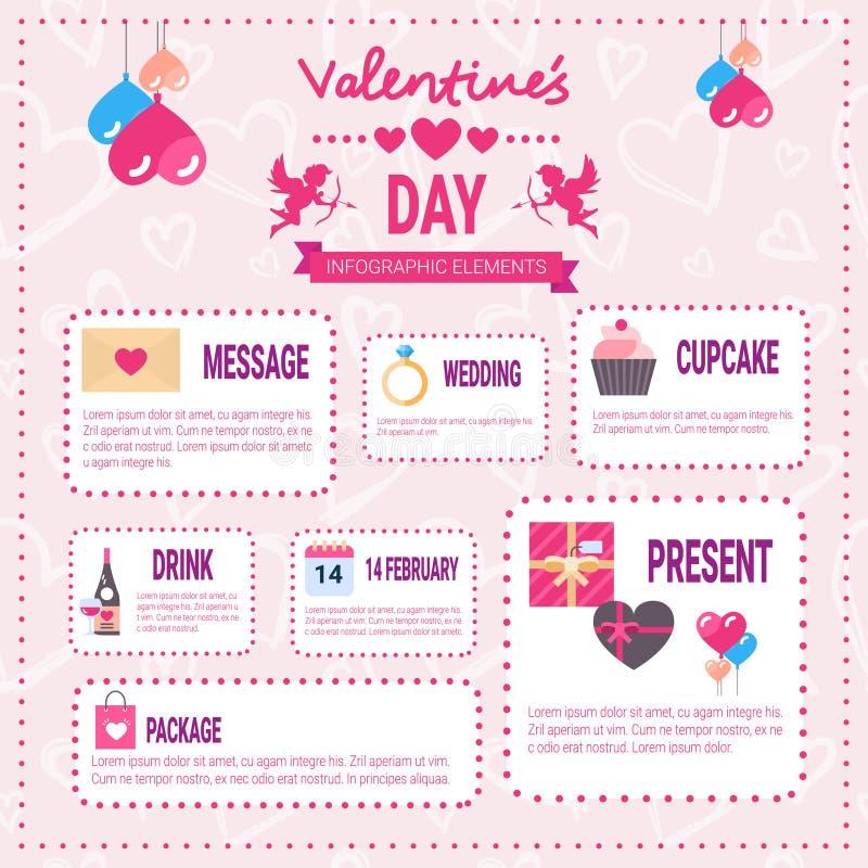 情人节Infographic在桃红色背景,爱假日信息图表的元素象 向量例证