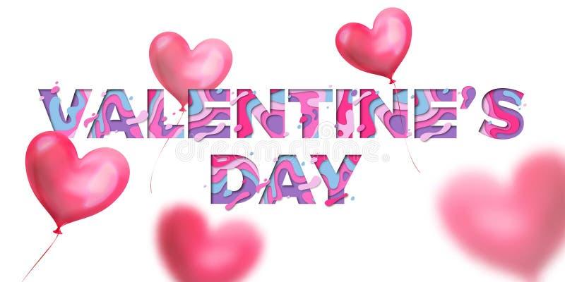 情人节papercut华伦泰红色心脏气球和纸贺卡的文本设计削减了在白色backgro的字法 库存例证
