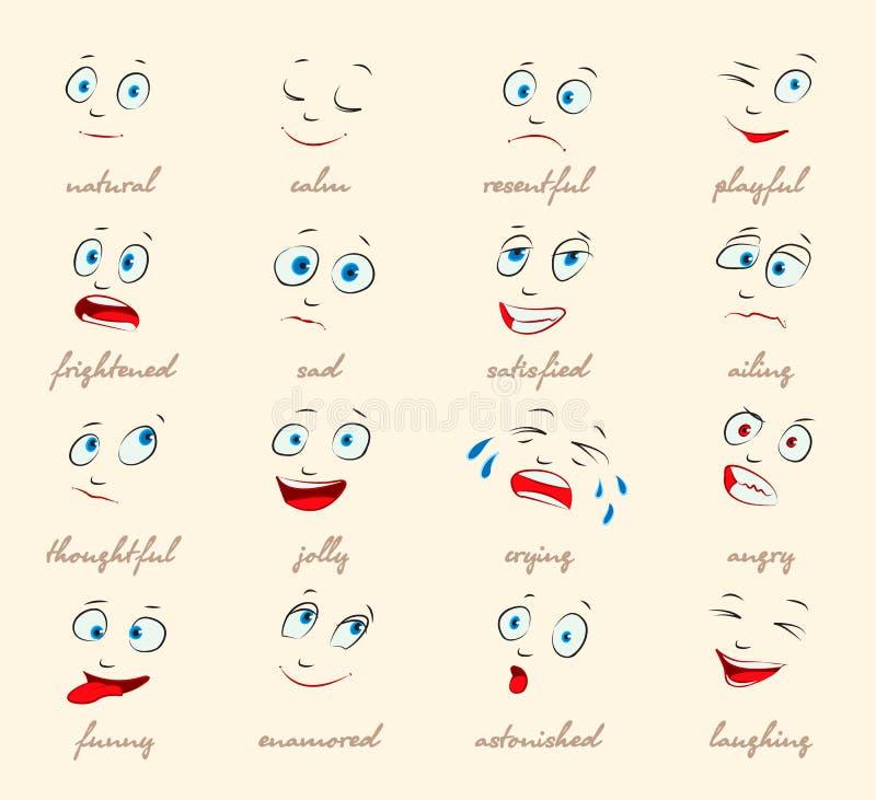 情感。 动画片表情 皇族释放例证