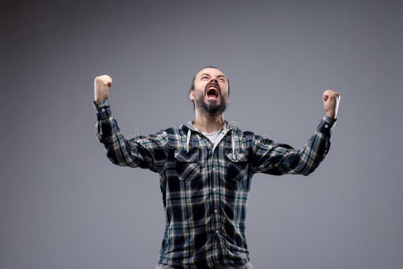 情感人尖叫对天堂 免版税库存图片