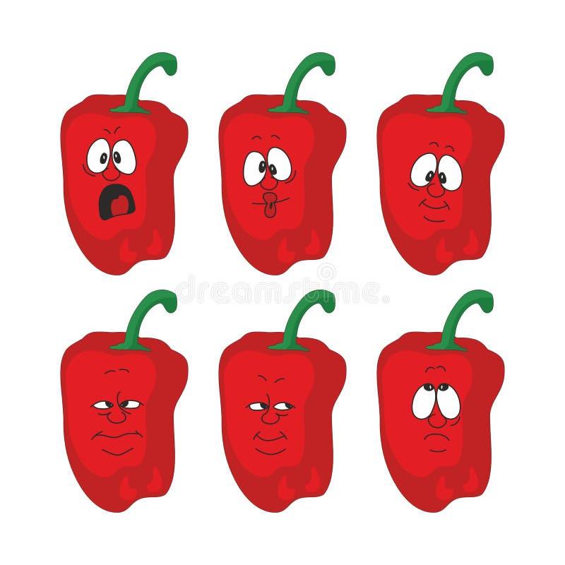情感动画片红辣椒菜设置了004 向量例证