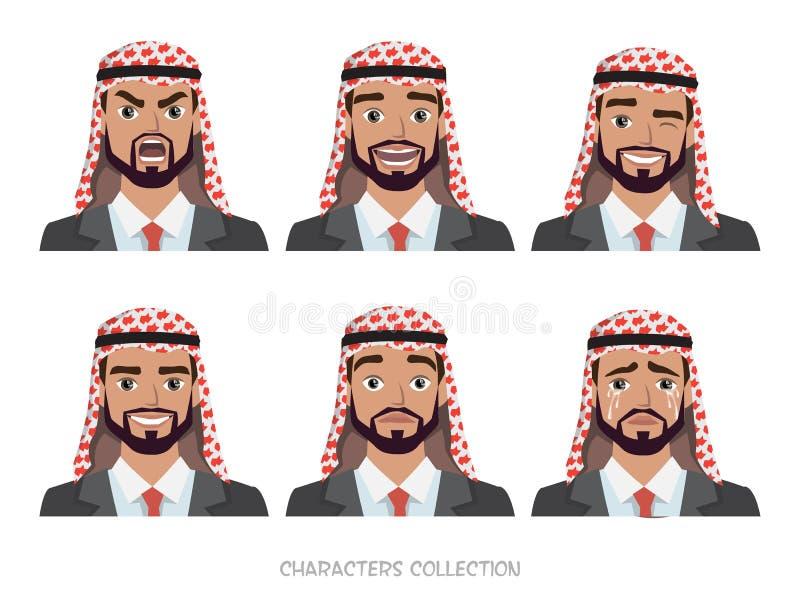 情感和姿势阿拉伯商人字符集  画象 向量例证