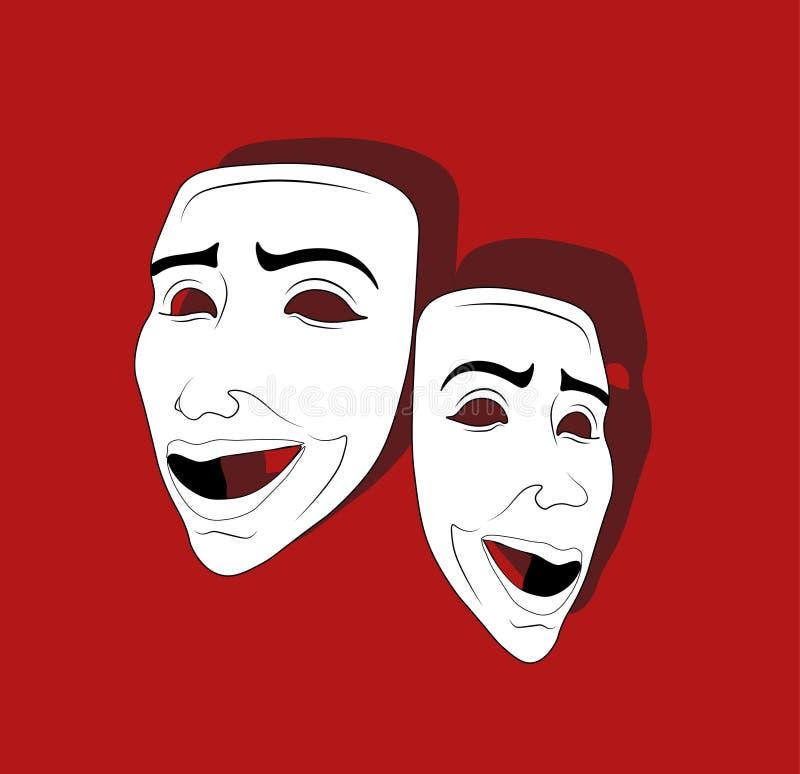 情感戏剧性面具  库存例证
