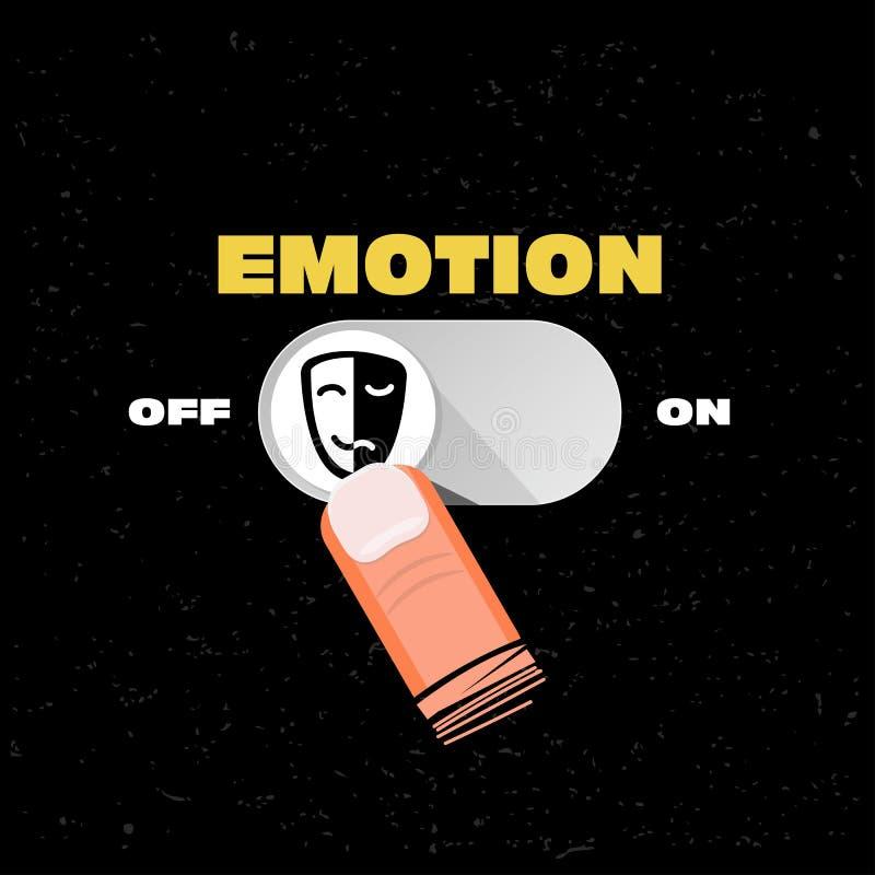 情感按钮断断续续 情感管理概念-传染媒介 库存例证