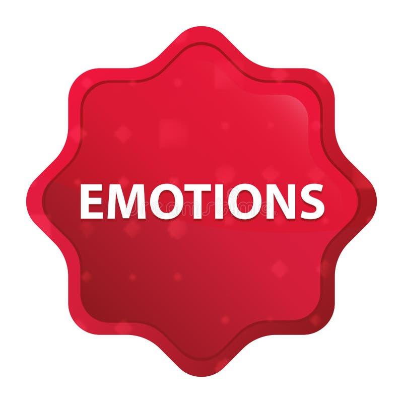 情感有薄雾的玫瑰红的starburst贴纸按钮 向量例证